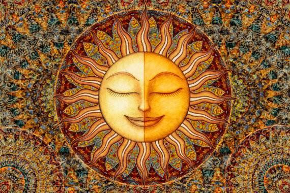Sun Moon Celestial Mini Tapestry Wall Hanging Artist Dan