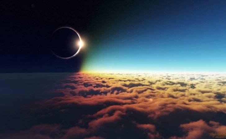 Sun Moon Clouds Sky Stars Eclipse