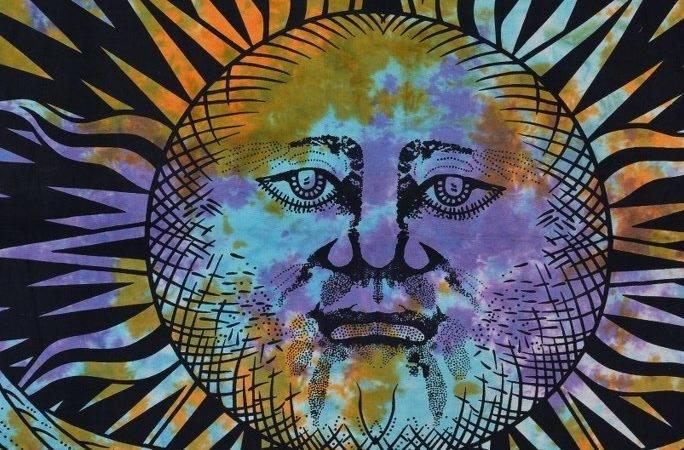 Sun Moon Tapestries Queen Tapestry Tie Die