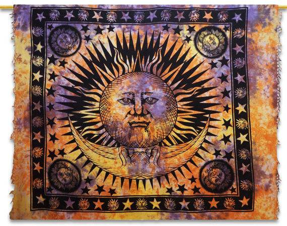Sun Moon Tapestry Indian Tapestries Wall Art Cotton