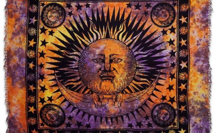 Sun Moon Tapestry Stars Beach Blanket Wall Rajasthanhomes