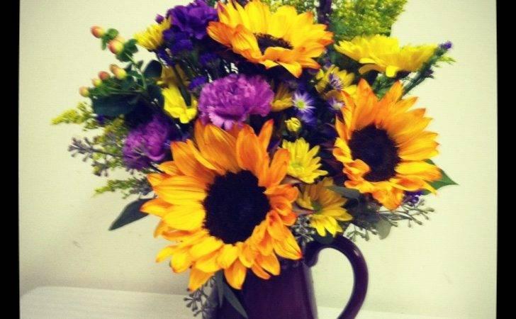 Sunflower Arrangement Purple Yellow Bev Floral Gifts