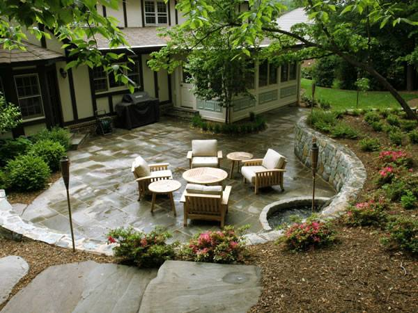Sunken Flagstone Patio Retaining Wall Contemporary
