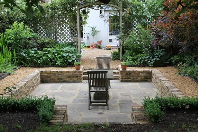 Sunken Garden Traditional Patio