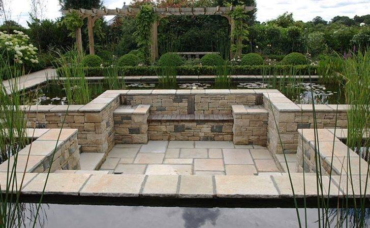 Sunken Patio Formal Pond Water Garden Design