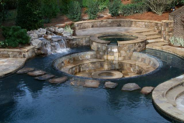 Sunken Patio Rustic Pool Atlanta Selective Designs Shane
