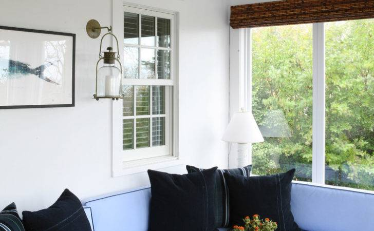 Sunroom Furniture Traditional Black Pillow Bamboo Blinds