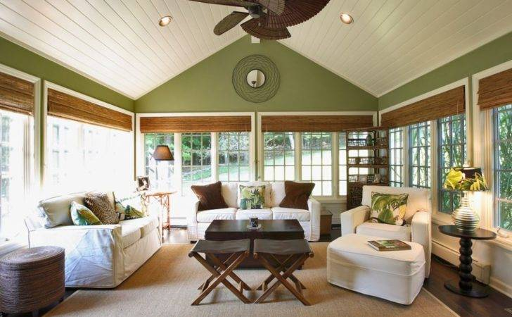 Sunroom Vaulted Ceiling Wooden Window Blinds Great Windows