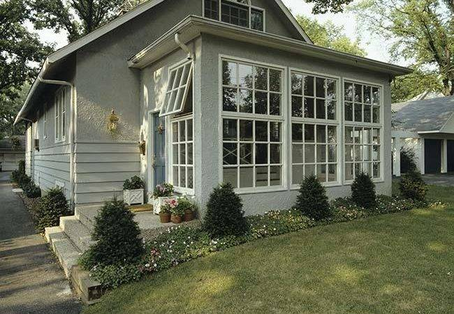 Sunrooms Front Small Grey Stucco Bungalow Addition Sunroom