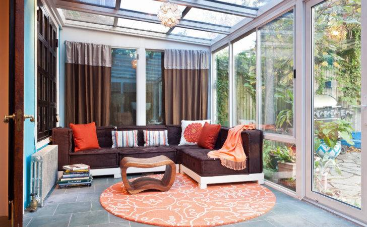 Sunrooms Sunroom Eclectic Brown Curtain Blue Wall
