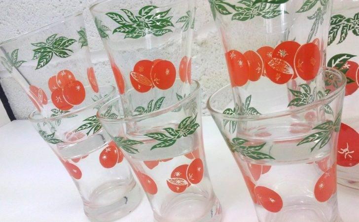 Swanky Swig Vintage Orange Juice Pitcher Six Glasses Oranges Design