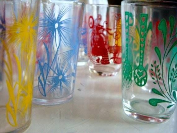 Swanky Swigs Juice Glasses Shabby Chic Glass