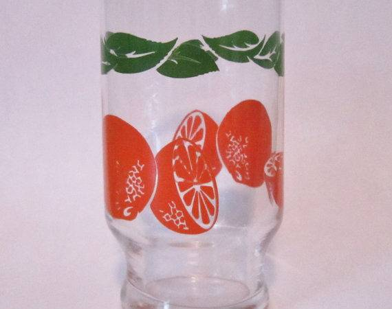 Swanky Swigs Oranges Pattern Small Juice Glass Tumbler Tall