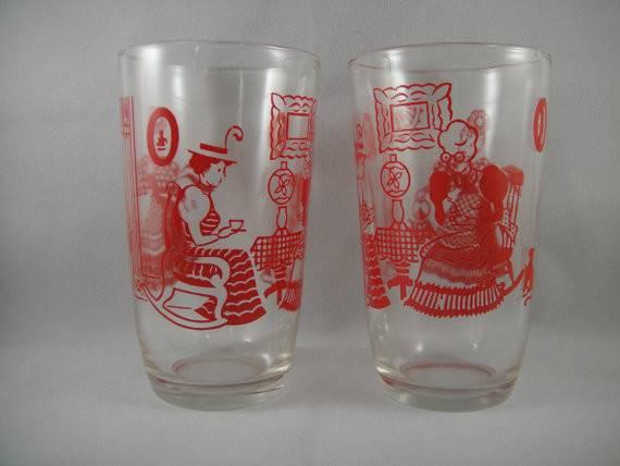 Swanky Swigs Pair Juice Glasses Red Graphics Women Drinking Tea