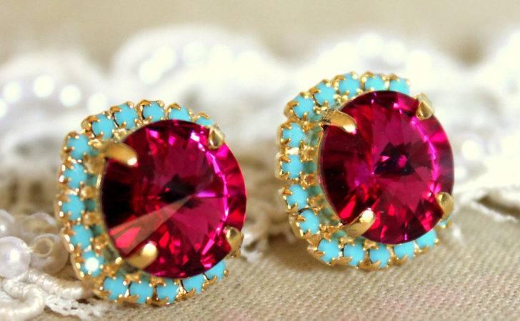 Swarovski Crystal Pink Fuchsia Turquoise Gold Silver Stud
