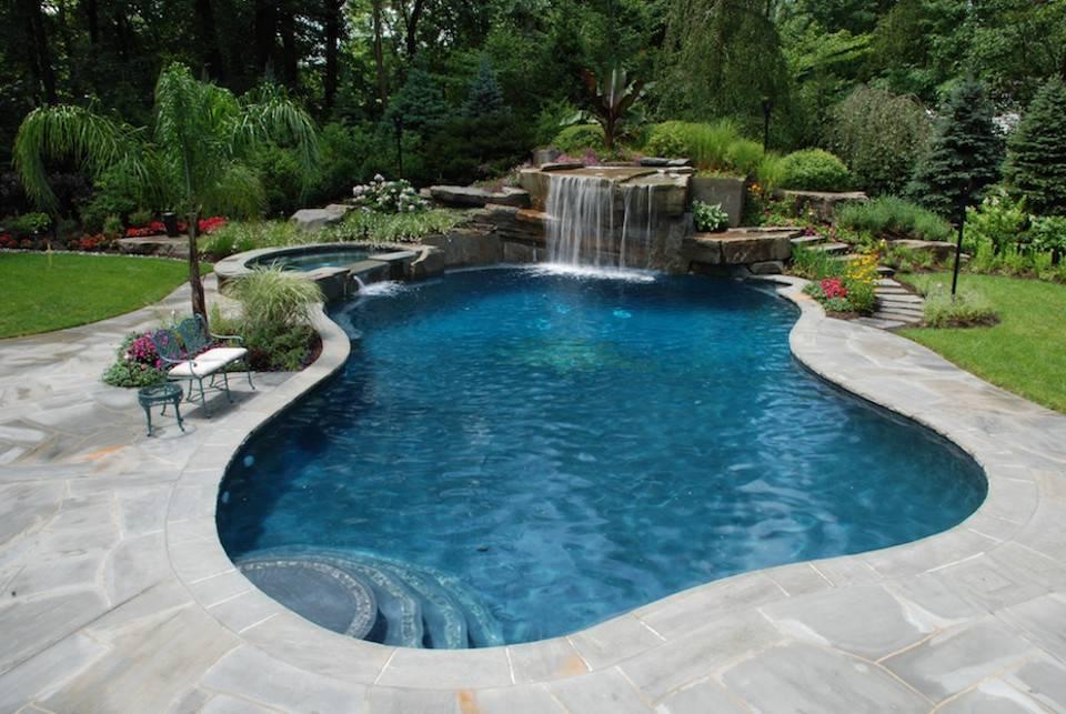 Swimming Pool Landscape Design Lighting Tropical