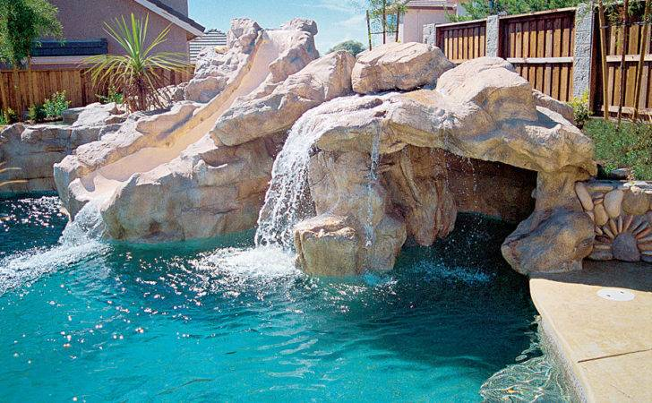 Swimming Pool Rock Waterfall Grotto Slide