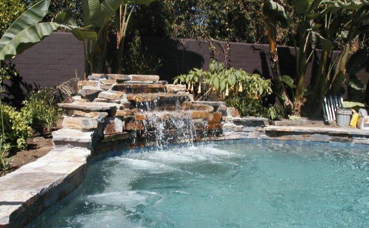 Swimming Pool Rock Waterfall Laurels Pinterest