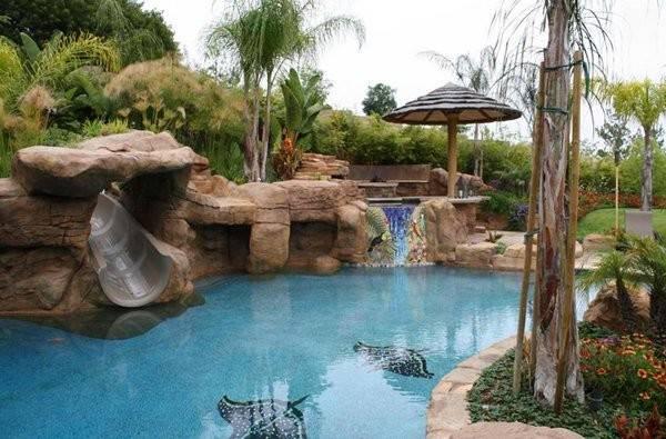 Swimming Pool Spa Area Swim Bar Water Slide