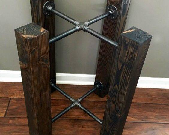 Table Base Wood Beam Iron Pipe Round Square Dining Custom Options