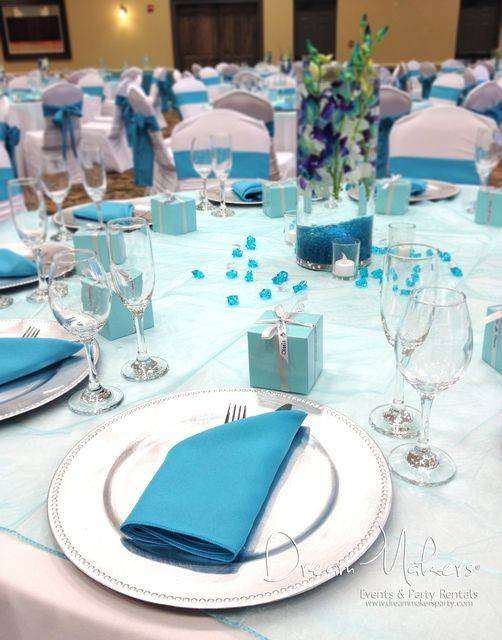 Table Settings Turquoise Wedding Party More Ideas