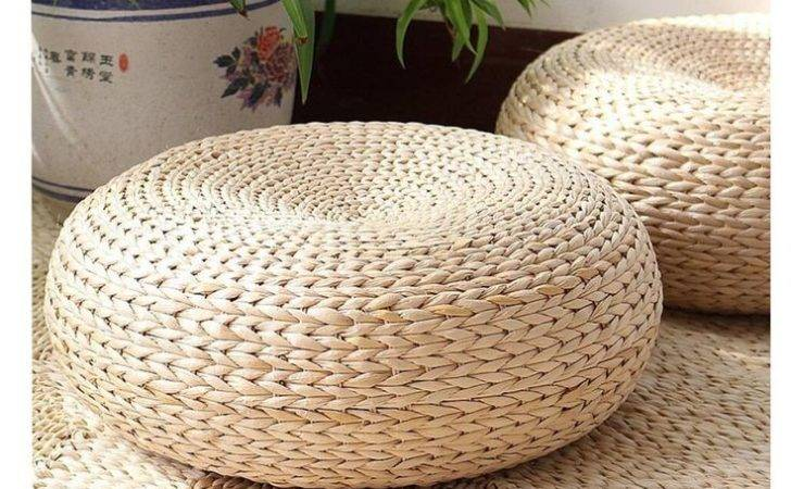 Taian Japanese Style Hand Made Cattail Stem Tatami Cushion Pouf Floor