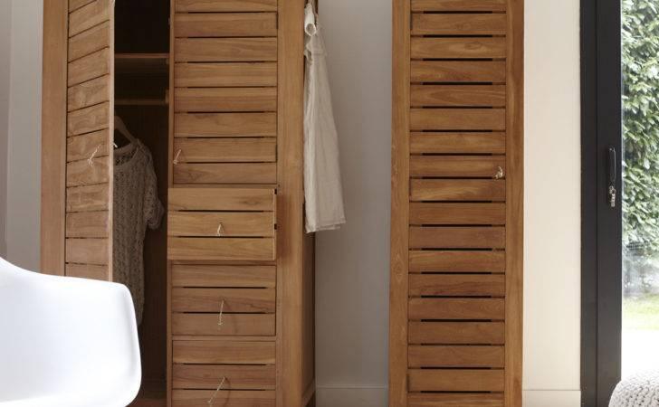Teak Wardrobe Bedroom Living Room Lounge Natural Wood Furniture
