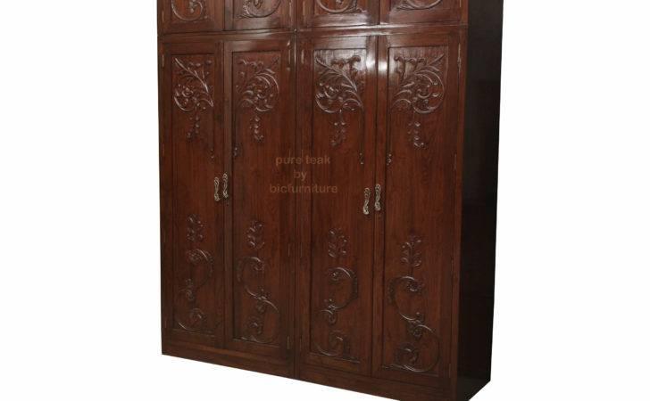 Teakwood Wardrobe Carving Design Details Bic Furniture India
