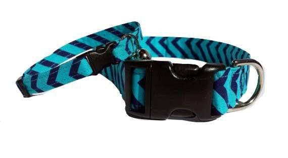 Teal Chevron Dog Collar Navy Blue Fabric Adjustable