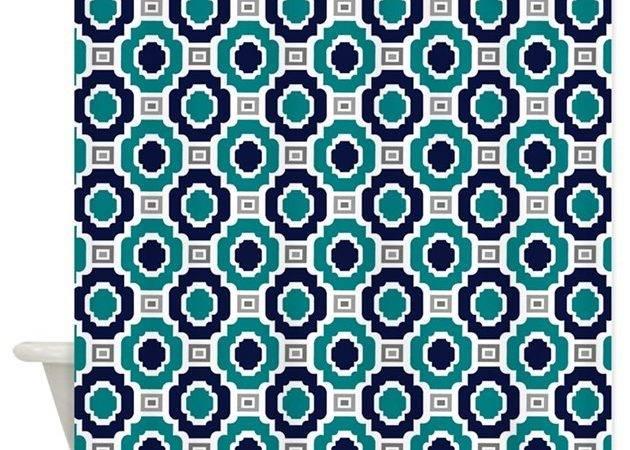 Teal Navy Modern Moroccan Tile Pattern Shower Curt Doodles Design