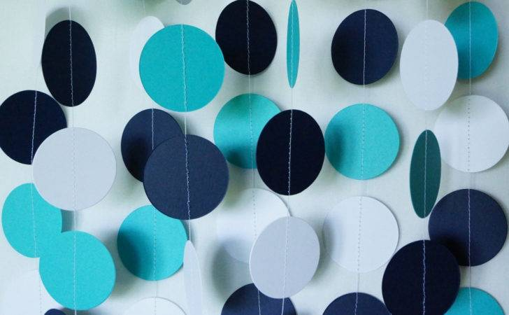 Teal Navy White Paper Garland Fabulouslyhomemade