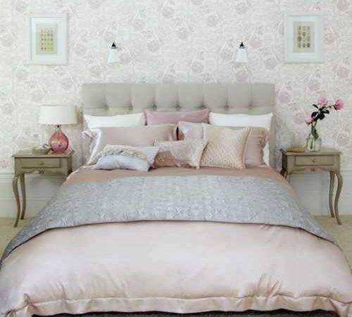 Tender Light Gray Pink Color Scheme Bedroom Decorating