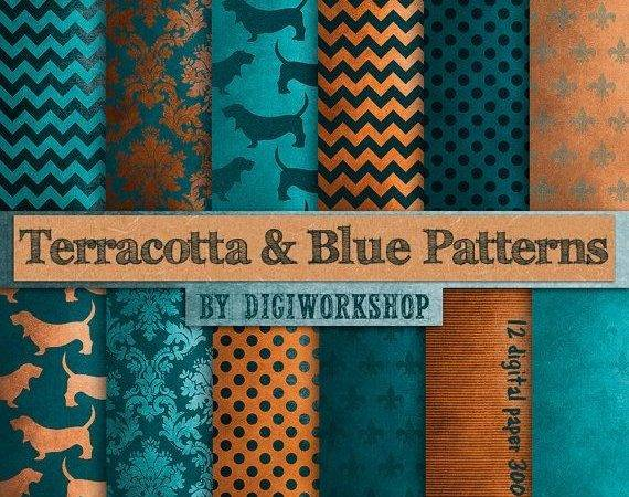 Terracotta Blue Digital Paper Patterns