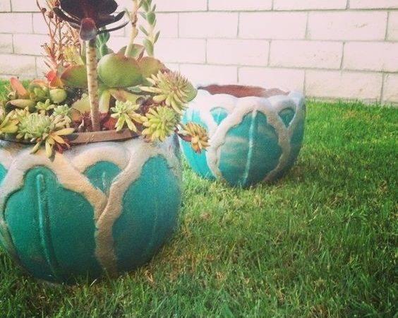 Terracotta Planters Painted Aqua Blue Filled Succulents