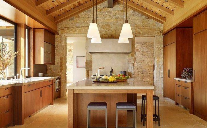 Textured Limestone Wall Offers Kitchen Relaxed Farmhouse Vibe
