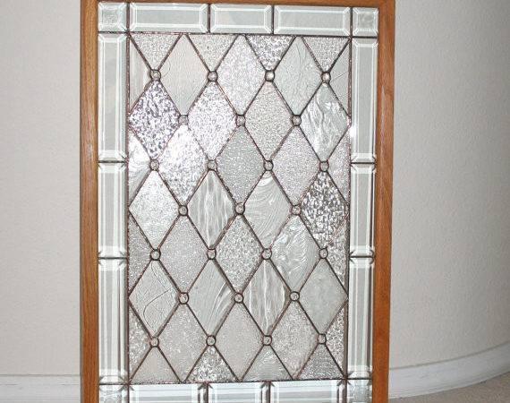 Textured Stained Glass Panel King Arthurs Court Original Ooak Oak
