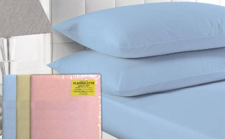 Thermal Flannellette Fitted Flat Pillow Case Sheet Set Flannel Pcs