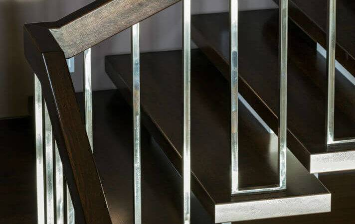 These Modern Stair Rails Stainless Steel Mahogany Wood
