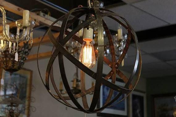 Thomas Edison Bulb Wine Barrel Orb Globe Chandelier Hanging Sphere
