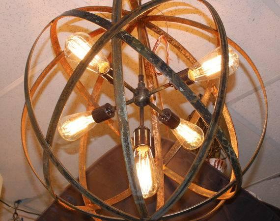 Thomas Edison Bulbs Wine Barrel Orb Chandelier Hanging Sphere
