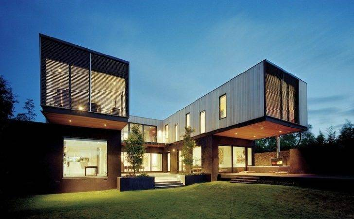 Thoroughly Renovated Contemporary Residence Rear Angle Dark