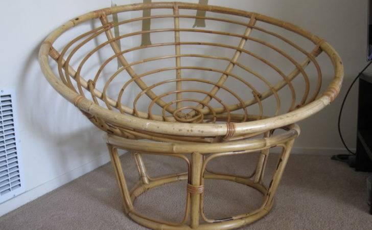 Thread Papasan Chair Blue Cushion Bamboo Frame