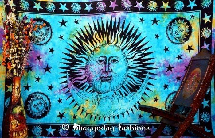 Tie Dye Sun Moon Tapestry Wall Hanging Similar Items