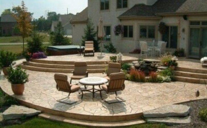 Tiered Patio Designs Stamped Concrete