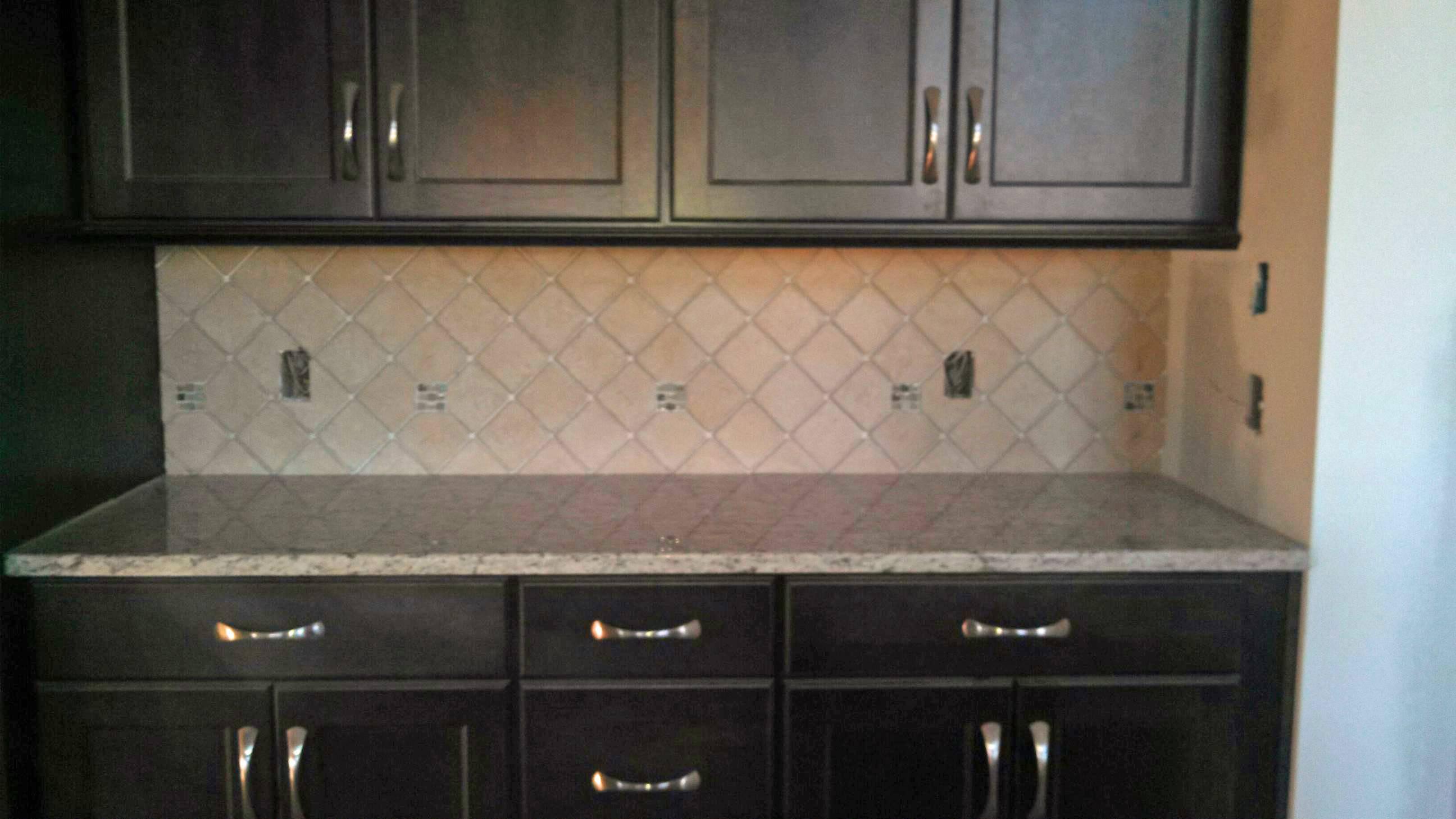 Tile Backsplash Dark Cabinets