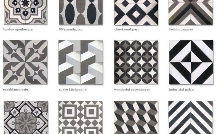 Tile Encaustic Cement Black White Grey Cletile Cool