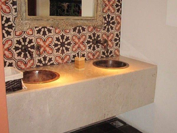 Tile Floor Three Color Cement Backsplash Which Matches