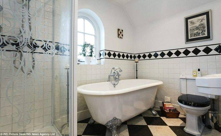 Tiled Bathroom Has Deep Standalone Bath Walk Shower