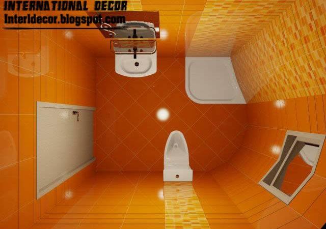 Tiles Design Small Bathroom Ideas Orange Ceramic