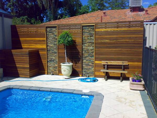 Timber Privacy Screen Around Pool